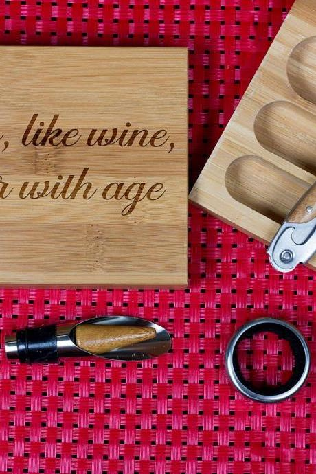 Engraved Wine opener set, Cork screw Set, Friends, Wooden Engraved Wine Opener set, Party Favor, Christmas Gift