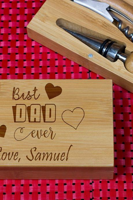 Engraved Wine opener set, Personalized Cork screw Set, Best Dad Engraved Wine Opener set, Wine Party Favor, Christmas Gift