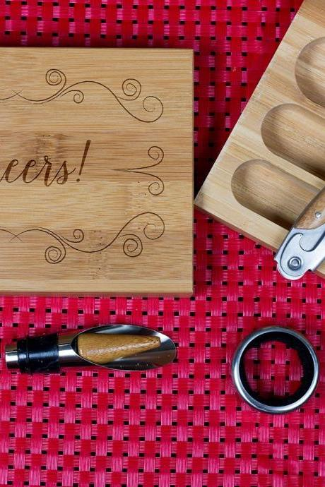 Engraved Wine opener set, Cork screw Set, Cheers, Wooden Engraved Wine Opener set, Party Favor, Christmas Gift