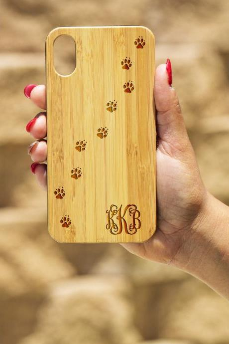 Dog Paw IPhone X Case, Engraved Iphone X case, Wooden Engraved Iphone X Case, Iphone case, Beautiful Gift for here, unique