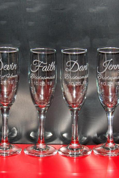 Set of 6 champagne flues, personalized names wedding toasts, Wedding Champagne Flutes, Engraved Wedding Glasses,Custom, bridesmaid champagne