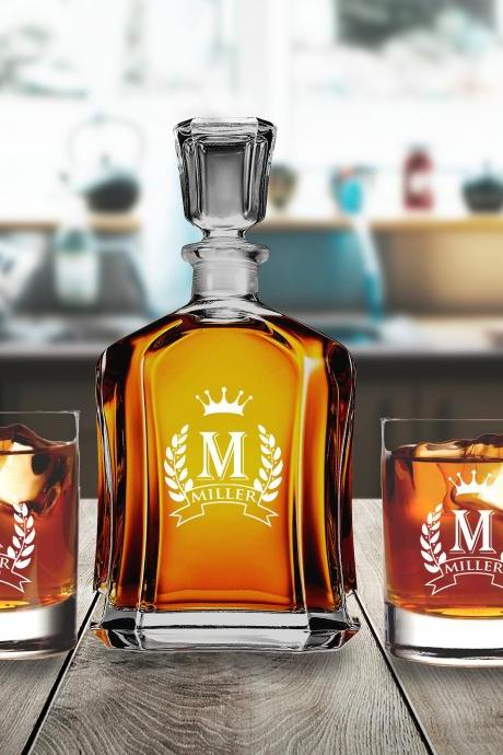 Housewarming Decanter set with whiskey glasses, Wedding gift decanter set, Couple gift, Personalize Decanter set,whiskey Decanter with glass