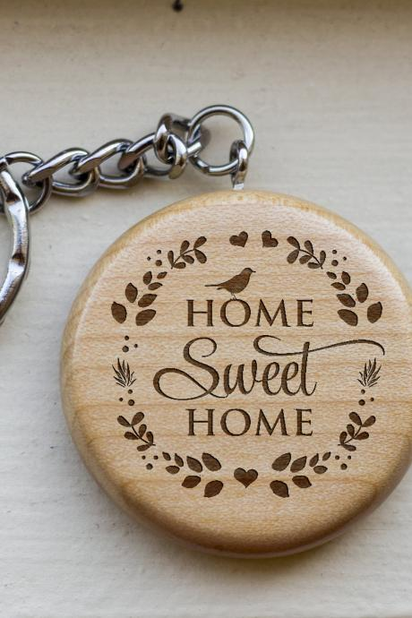 Personalize Key chain, Home sweet home key chain, love key chain,custom key chain, wood key chain, Gift for new home ,BFF gift