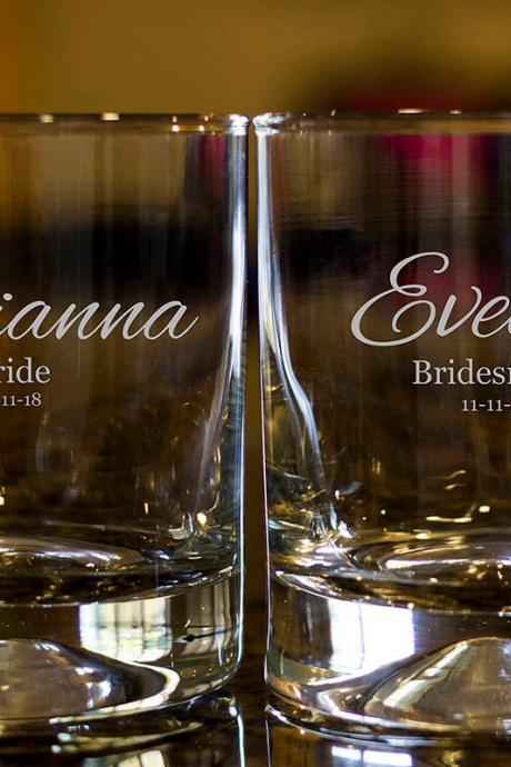 Personalize Rock glass, Engraved Whiskey glasses, Bridesmaid Whiskey glasses, Bourbon Glasses, Etched Scotch glasses, Scotch glasses,