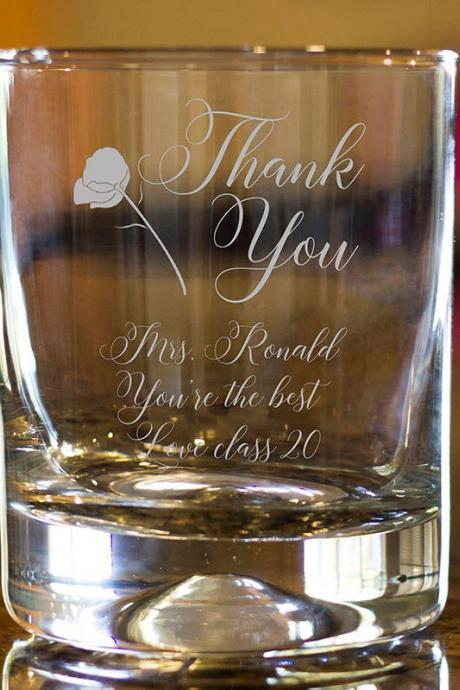 Thank you rock glass,Personalize Rock glass,Engraved Whiskey glass, etched Whiskey glass,Bourbon Glass,wedding gift,Bachelor party