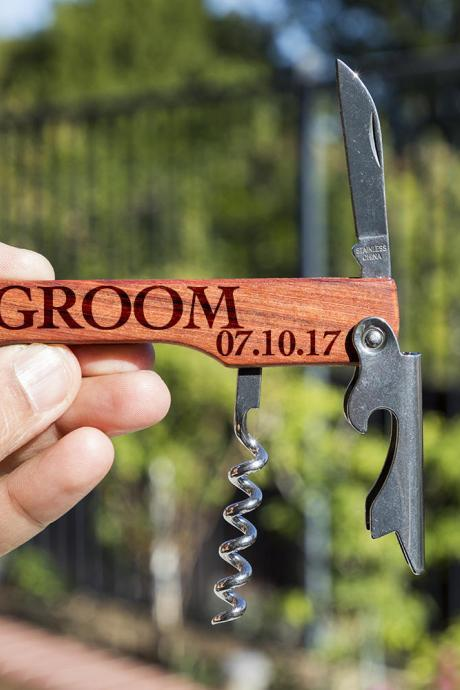Groom bottle opener- custom corkscrew-Engraved wine bottle opener-wedding party gift-monogram bottle opener-personalize opener-wedding favor