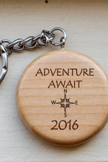 Personalized Key chain, Adventure awaits key chain, love key chain, round key chain, wood Engrave key chain, Gift for Couple, Customized