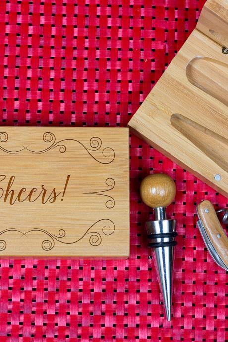 Engraved Wine opener set, Personalized Cork screw Set, Cheers Engraved Wine Opener set, Wine Party Favor, Christmas Gift