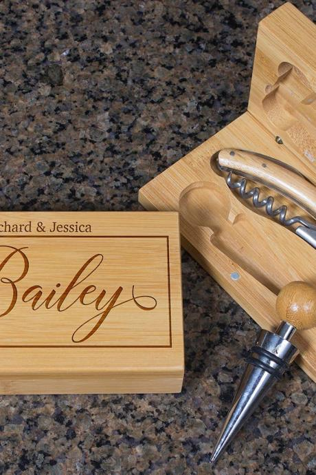 Engraved Wine opener set, Personalized Cork screw Set, Custom Couple Name Engraved Wine Opener set, Wine Party Favor, Christmas Gift