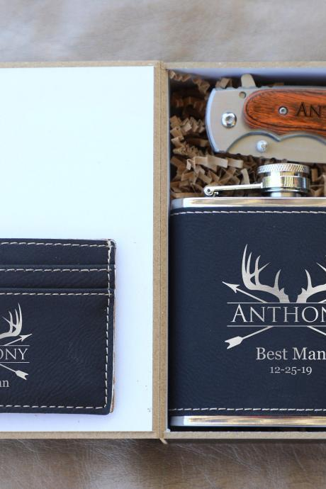 Personalized Groomsman Flask Gift Set, Deer Antler Flask Box Set,Groomsmen Gifts, Knife for Groomsmen, Wedding gift favors,groom