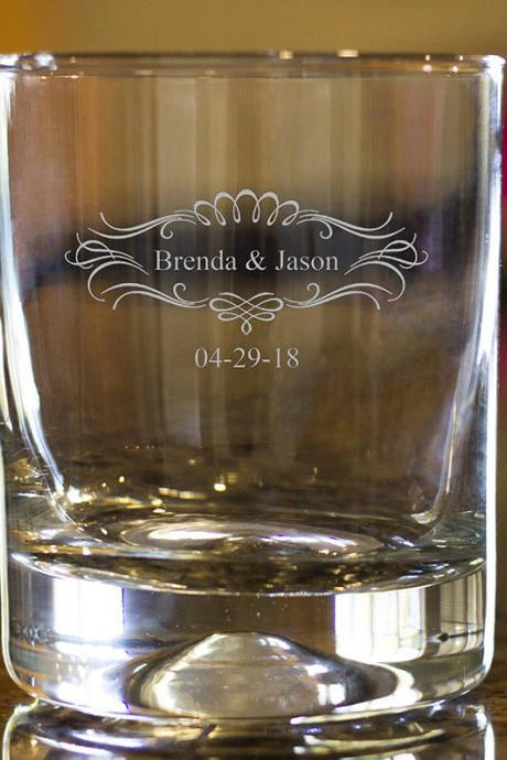 Personalize Rock glass,Engraved Whiskey glasses, Love Whiskey glasses,Bourbon Glasses, Etched Scotch glasses, customize names scotch glass