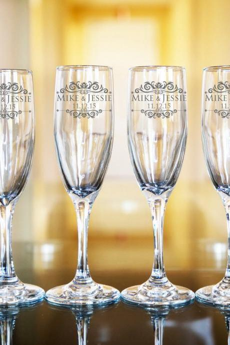 Set of 6 wedding champagne flues, personalized names wedding toasts, Bridesmaid Champagne Flutes, Engraved Wedding Glasses,Customize wedding