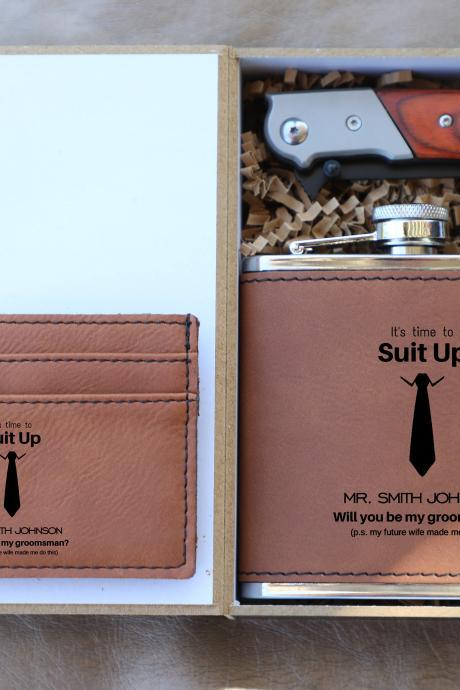 Suit up Groomsmen gift set, Groomsman gift set,Personalize Groomsmen Gift set,Engraved gift set,Groom's Crew gift set, Custom Groom set