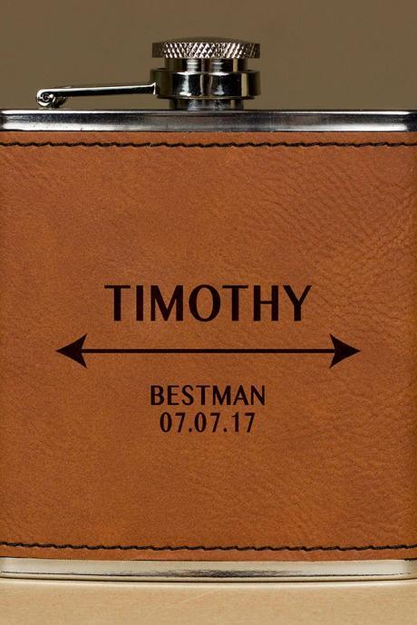 Personalized Flask, Wedding Flask, Bestman Flask, Gift for wedding, Gifts for him, birthday gift, best man gift, Hip Flask