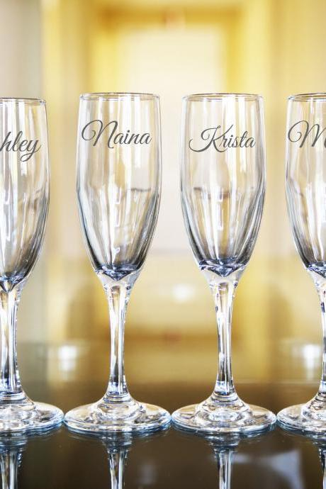 Set of 6 Wedding champagne flues, personalized names wedding toasts, Wedding Champagne Flutes, Engraved Wedding Glasses,Customize wedding