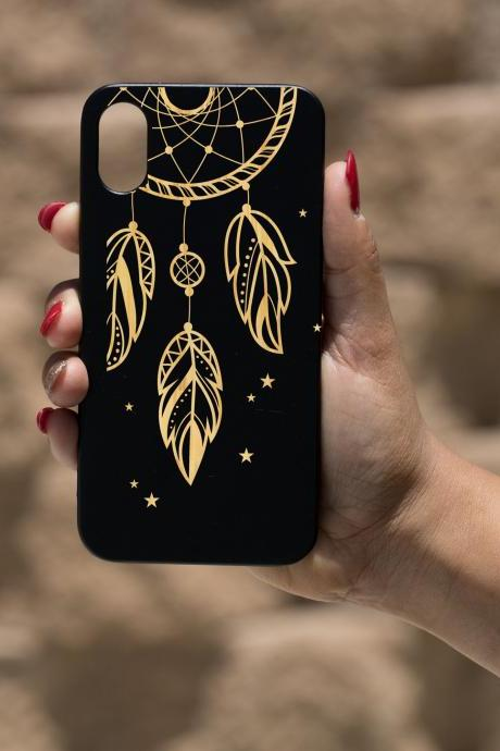 Dreamcatcher IPhone X Case, Engraved I phone X case, Wooden Engraved Iphone X Case, Iphone case, Beautiful Gift for here, unique