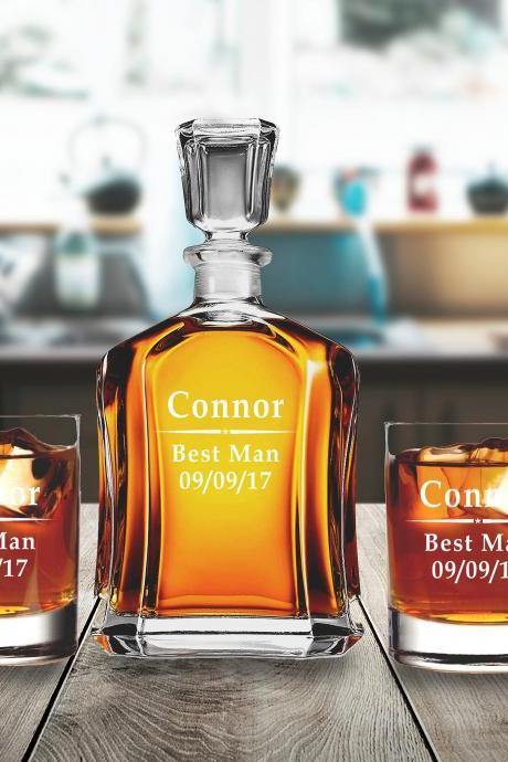 Wedding Gift for couple, Groomsman Gift, Newlyweds Gifts, Personalize Housewarming Gift, Personlize decanter set with whiskey glasses