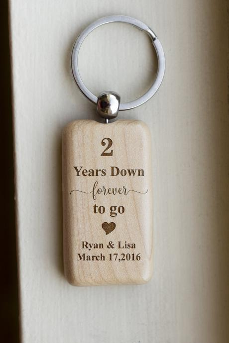 Personalize Key chain,2 yeas down key chain, love key chain,custom key chain, wood key chain, Gift for her ,Anniversary gift, memory,forever