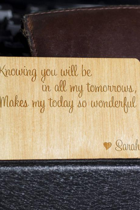 wooden wallet insert, customized wallet insert, custom wallet card, Wood Wallet, 5th Anniversary, Personalize Wooden Wallet Insert Card