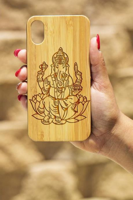 Ganesha IPhone X Case, Engraved Iphone X case, Wooden Engraved Iphone X Case, Iphone case, Beautiful Gift for here,unique case,