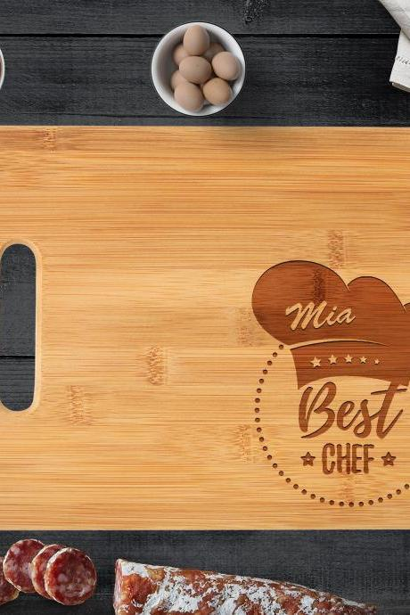 Custom Engraved Cutting Board, Personalized Name Bamboo Wood Cutting Board, Cooks' Kitchen Design // Mother's Day Gift