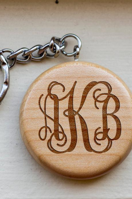 Personalized Key chain, Monogram key chain, love key chain, round key chain, wood Engrave key chain, Gift for Couple, Customized,wooden