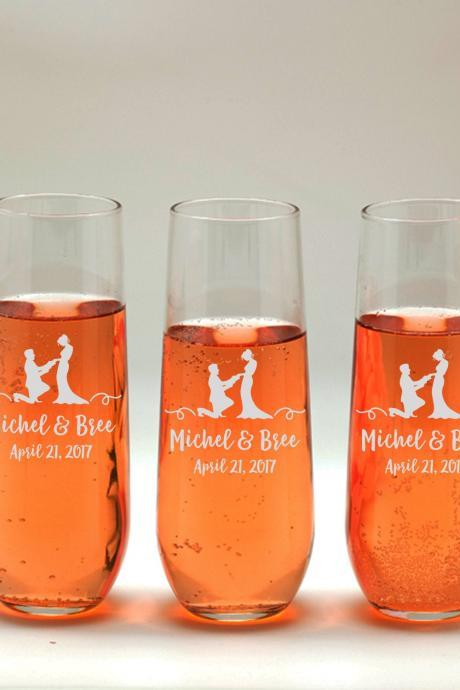 Personalize wedding Champagne glass, Bridesmaid wedding toasts, Wedding stemless flutes, Engraved Wedding Glasses,Customize champagne flutes