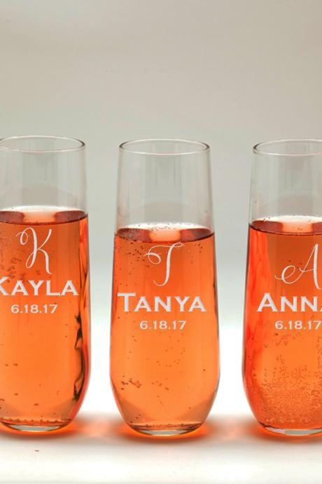 Bachelorette party favors, Bridesmaid names wedding toasts, Wedding stemless flutes, Engraved Wedding Glasses,Customize champagne flutes
