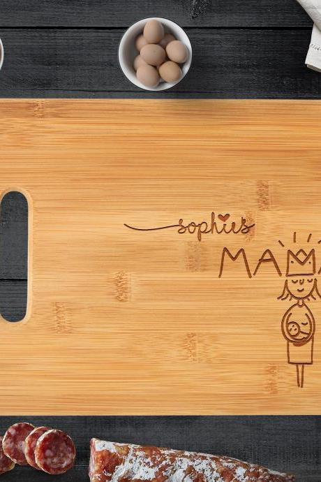 Custom Engraved Cutting Board - Personalized Modern Designed Couples Bamboo Wood Cutting Board // Weddings, Couples, World's Best Mom