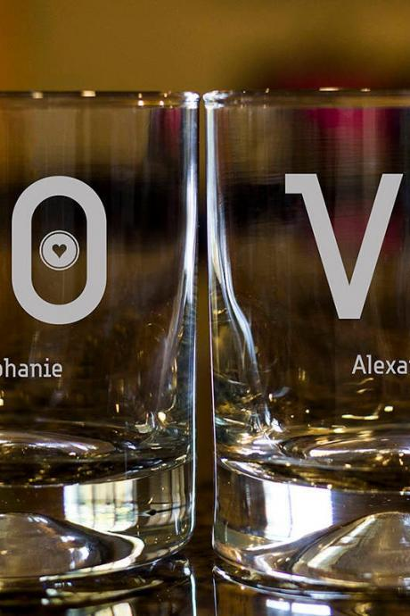 Personalize Rock glass,Engraved Whiskey glasses, Love Whiskey glasses,Bourbon Glasses, Etched Scotch glasses,Couple scotch glass, custom