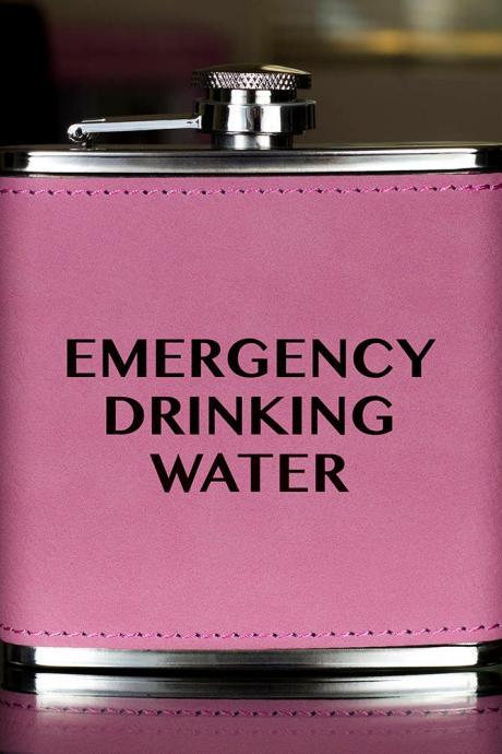 Funny Flask, Unique Flask, Emergency Drinking Funny Flask, sarcasm Flask, Birthday Gift, Gift, Perfect Gift, Leather Flask