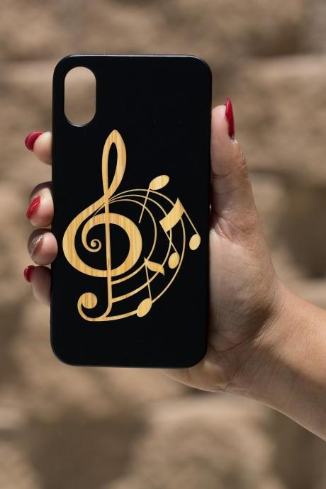 Music Notes IPhone X Case, Engraved Iphone X case, Wooden Engraved Iphone X Case, Iphone case, Beautiful Gift for here,unique case,