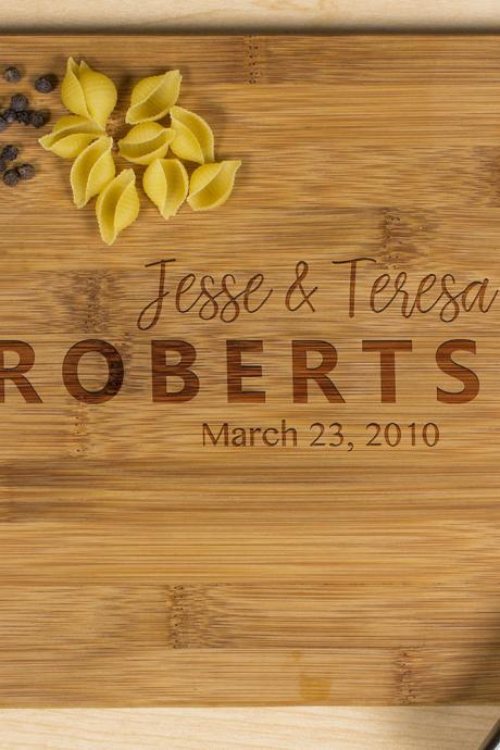 Personalized cutting board, Wedding Gift, Kitchen Decor, Housewarming Gift,His & her Name Engraved Cutting Board, Anniversary Gift