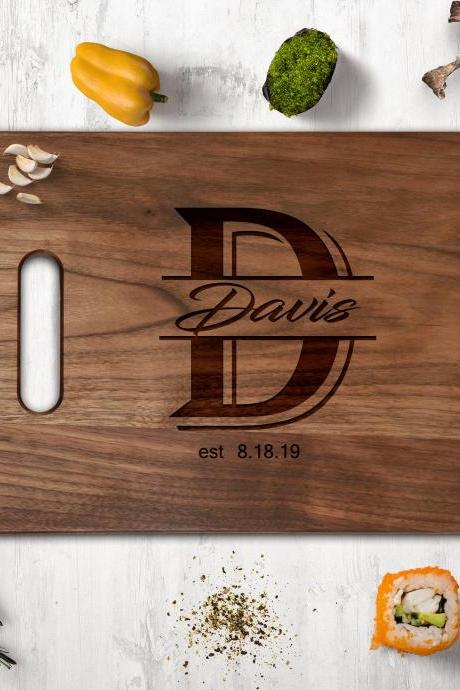 Family name Walnut cutting board, Wedding Gift, Kitchen Decor,Housewarming Gift,Couple Cutting Board, Chopping board, cheese board,last name