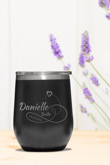 Personalized Wine Tumbler, Stemless Tumbler, Custom Wine Tumbler, Bridesmaid Gift, Wedding Favor, Bachelorette Party Favors