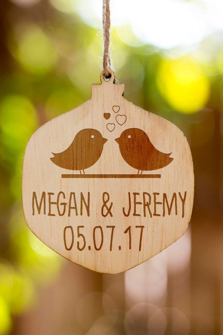 Personalized Christmas Ornament, Couple's Name Customized Wooden Ornament, Couple's Name and Date, Wooden Christmas Ornament