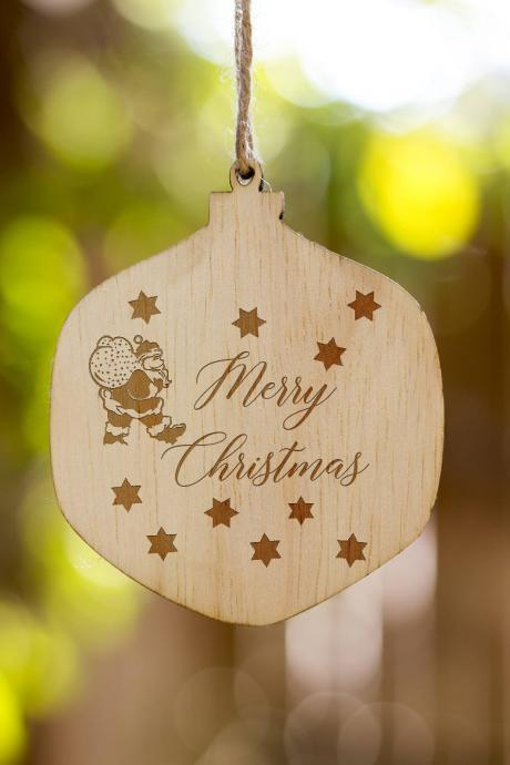 Personalized Christmas Ornament, Couple's Name Customized Wooden Ornament, Wooden Christmas Ornament Gift, Wooden Christmas Ornament