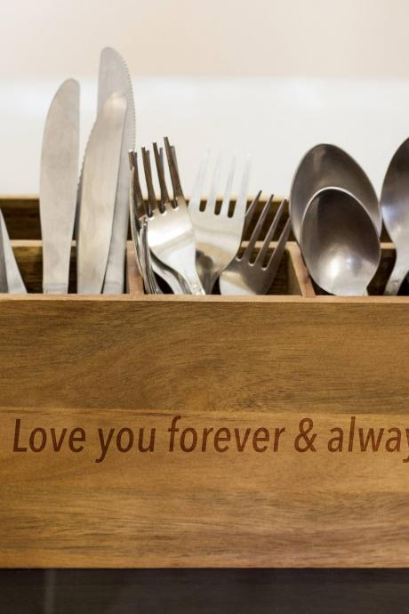 Love quote Silverware Caddy, kitchen Utensil Holder,Personalize Kitchen Stuff, Picnic Caddy,kitchen tool holder, housewarming Gift, custom