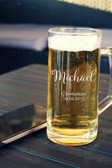 Beer mug for Groomsman, Personalize Beer Mug, custom Beer Mug, Groomsmen gift ,Husband Gift,Gift for him,Custom Beer Mug,Wedding Gift,BFF