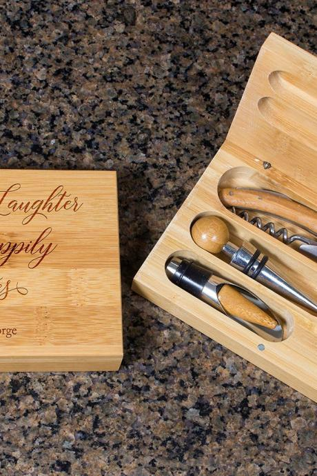 Engraved Wine opener set, Personalized Cork screw Set, Personalized Couple Name Engraved Wine Opener set, Party Favor, Christmas Gift