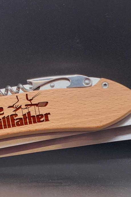 The Grill father Engraved BBQ Set,Personalized BBQ tool set,Gift for Grandpa, personalized grill set for Dad,Father's Day Gift, Gift for Dad