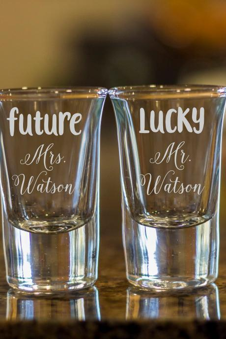 future mr shot glasses,customize shot glasses,wedding shot glasses, 1.5 oz shot glasses,wedding favor,future mrs shot glass