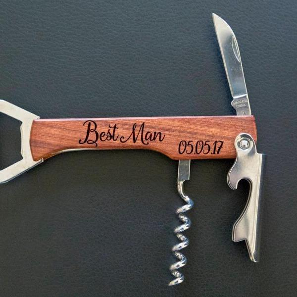 Best Man bottle opener- custom corkscrew-Engraved wine bottle opener-wedding party gift-monogram bottle opener-personalize opener
