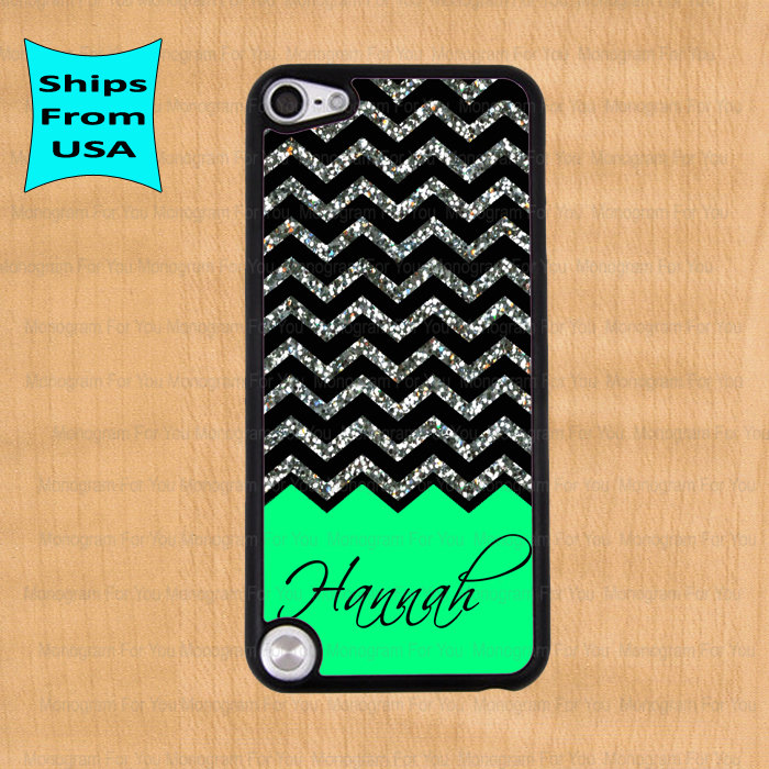 detailing 89e02 176ca Chevron Glitter Print Monogram IPod Touch 5 Case, IPod Cover, ITouch 4  Cases, IPod Touch 4th Generation Case(its NOT Real Glitter)